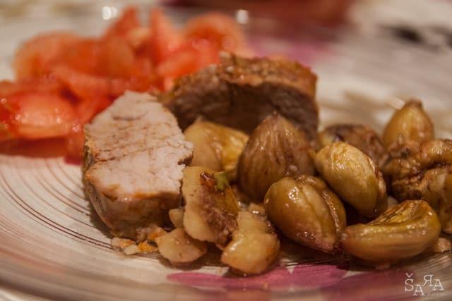 Lombo de porco assado com castanhas