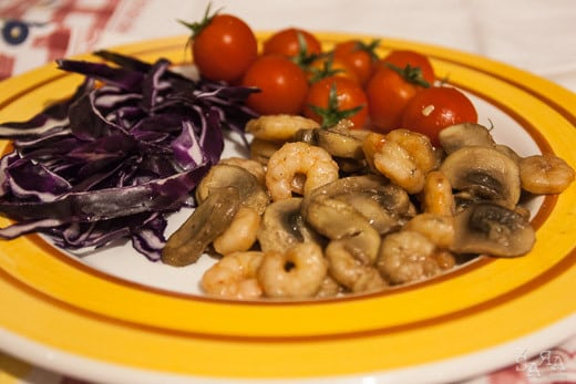 Gambas com Cogumelos e Gengibre