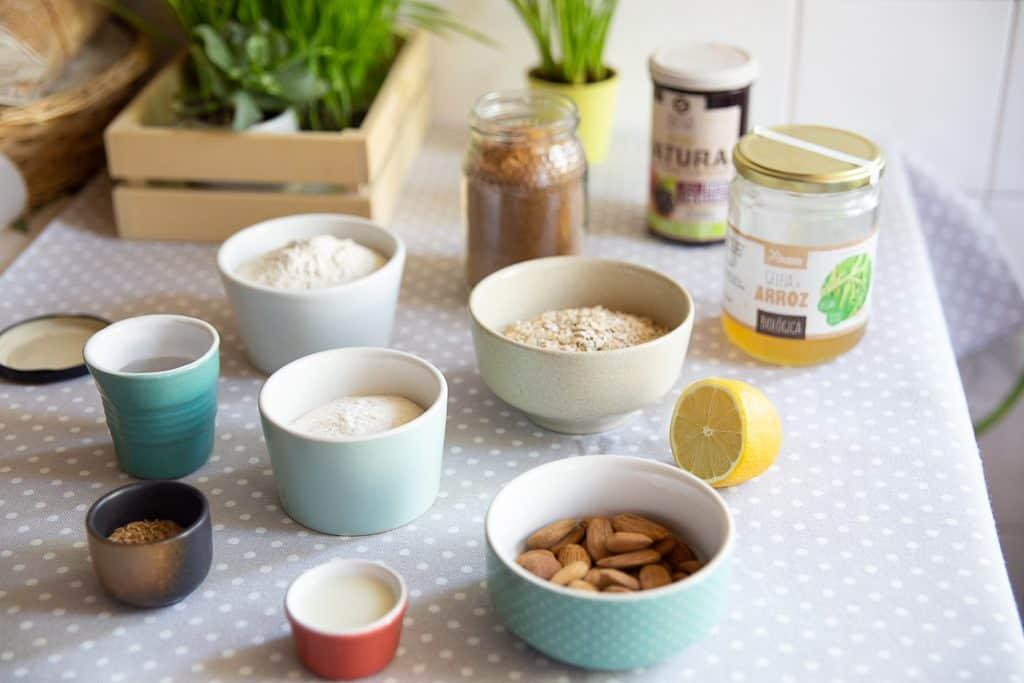 ingredientes para Muffins de aveia e trigo sarraceno
