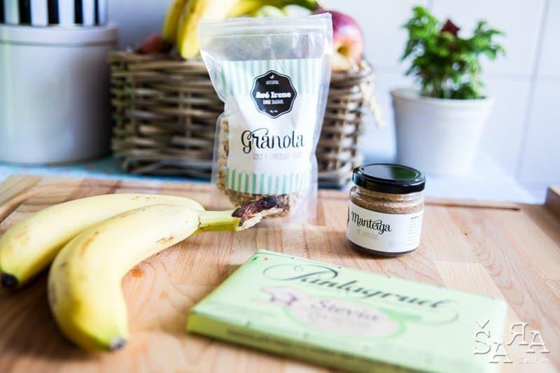 Snacks de banana com manteiga de amêndoa e chocolate só 3 ingredientes