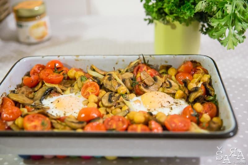 Gratinado de grão com cogumelos e tomate cherry apresentação