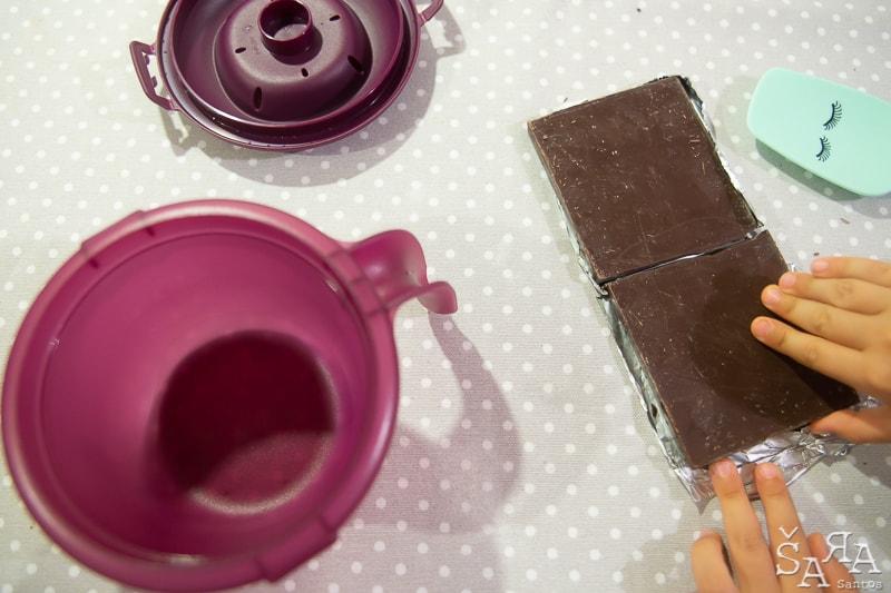 Partir chocolate de culinária